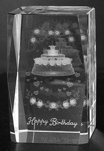 AAA1580-AIE LASER CUT CRYSTAL HAPPY BIRTHDAY