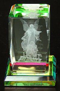 AAA1461-AIE RAINBOW COLOR LASER CUT CRYSTAL GUARDIAN ANGEL