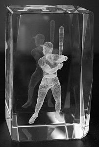 AIE LASER CUT CRYSTAL BASEBALL PLAYER
