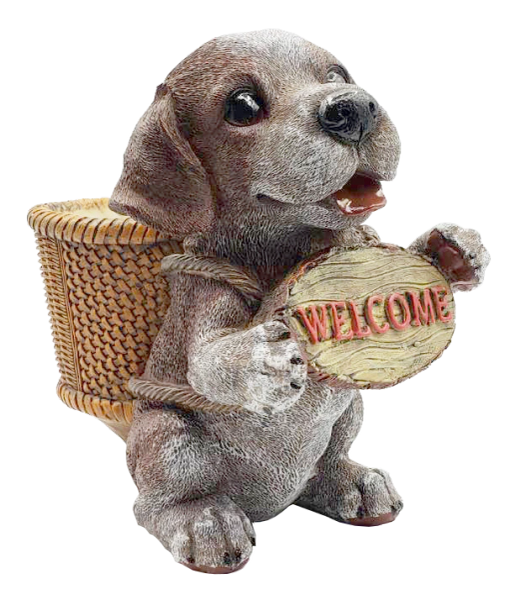 14011-Beagle Holding Welcome Sign Planter Figurine