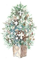 12 Printed Christmas Tree Place Cards