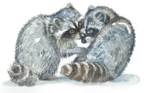 12 Printed Place Cards - Raccoon Pair