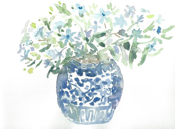 Original Watercolor - Vase with Flowers