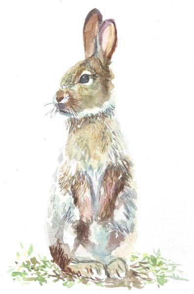 Original Watercolor - Bunny Sitting Up- SOLD