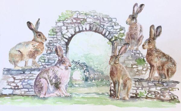 Original Watercolor - Bunnies and Arch
