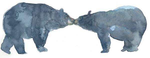 Original Watercolor - Bears Kissing