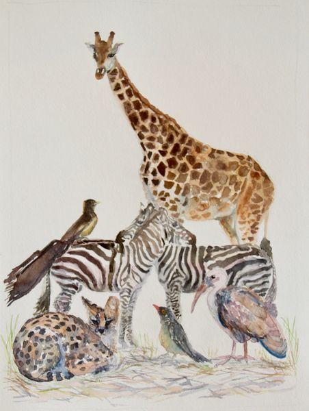 Original Watercolor - Stacked Animals Giraffe