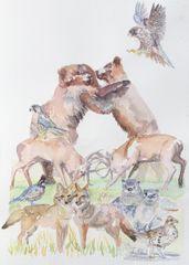 Original Watercolor - Stacked Animals Fighting Bears