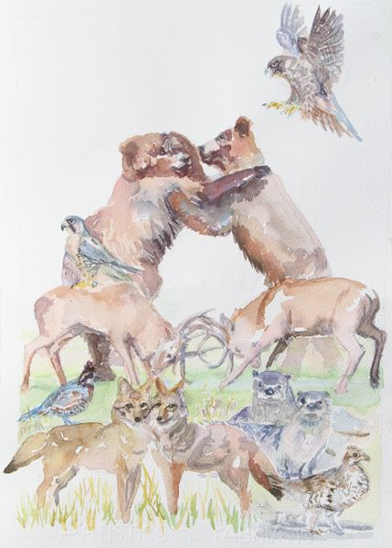 Original Watercolor - Stacked Animals Fighting Bears