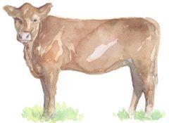 Original Watercolor - Brown Cow