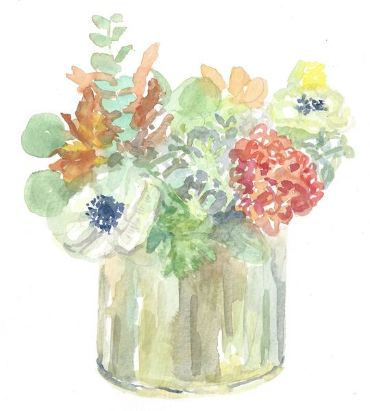 Fall Flowers with White Anemone-SOLD