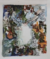 Camo Ceiling on paper- Framed- SOLD