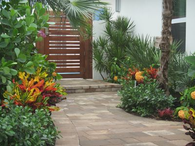 South Florida Landscaping ideas for a tropical entrance to the backyard