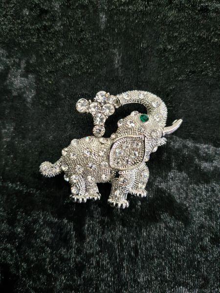 "Happy Trunk"" crystal adorned Elephant brooch"