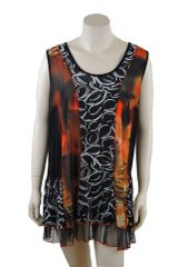 Sunburst Mesh Panel On Black And White Tunic Top