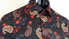 Paisley and red flower detail on dark navy