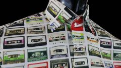 Multicolour cassette tapes on white