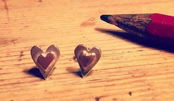 Tiny heart stud earrings - Sterling silver and solid 9ct rose gold