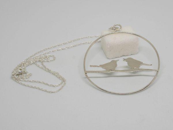 Silver songbirds necklace