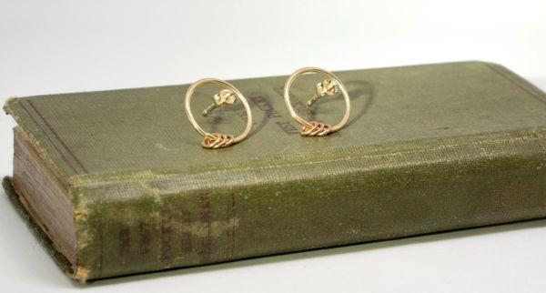 Hoop with rings gold earrings
