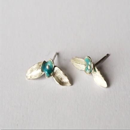 Enamelled silver flower earrings