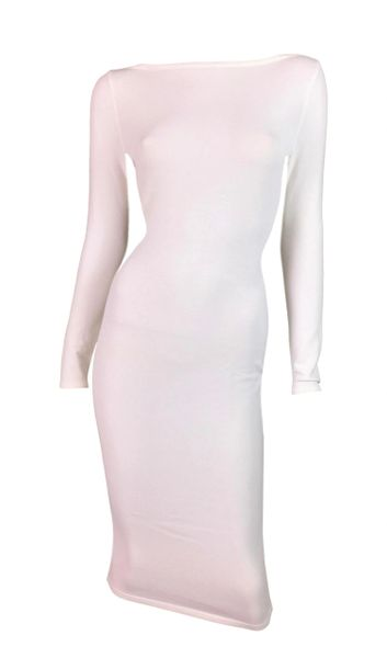b7e846ff0e3 NWT S S 1998 Gucci by Tom Ford Semi-Sheer White Bodycon Wiggle Dr ...