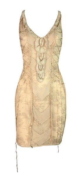 2000s Christian Dior By John Galliano Sheer Nude Lace Corset Knit Mini Dress