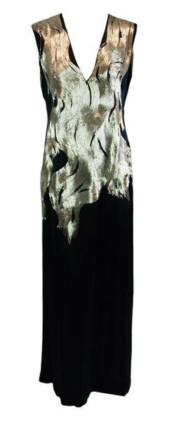e6c306197f2f A/W 2007 Runway Alexander McQueen Flame Beaded Black Silk Gown | My Haute  Wardrobe