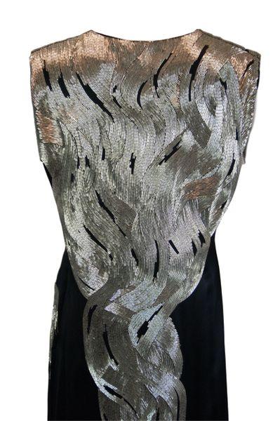 beed6ea136a3 A/W 2007 Runway Alexander McQueen Flame Beaded Black Silk Gown Dress 38