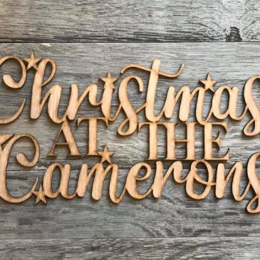 christmas wreath personalised sign