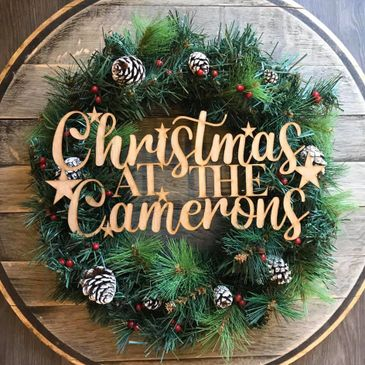 Laser engraved / Laser cut personal sign christmas wreath