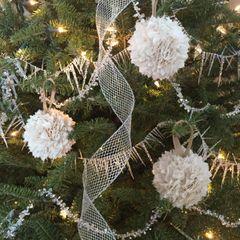 Fabric Rag Ball Vintage Christmas Tree Ornament Set