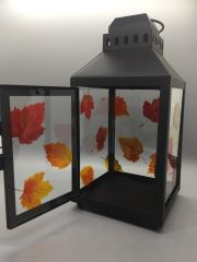 Autumn Leaves Black Metal Lantern