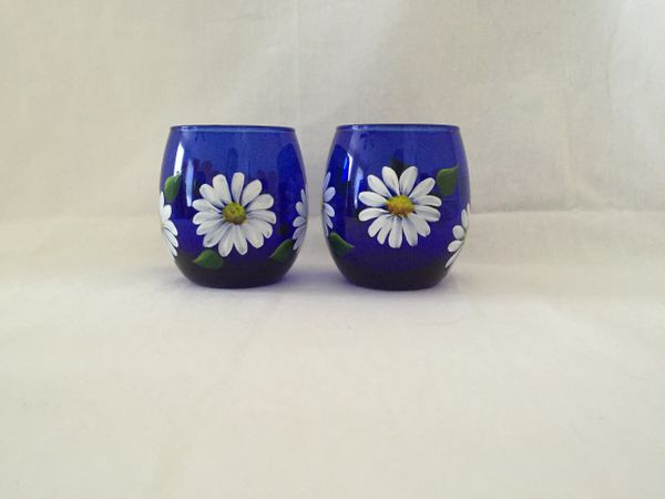 Daisies, Cobalt Blue, Stemless Red Wine