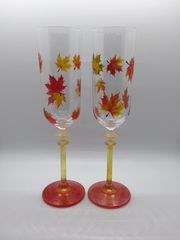 Autumn Leaves Falling Champagne Set