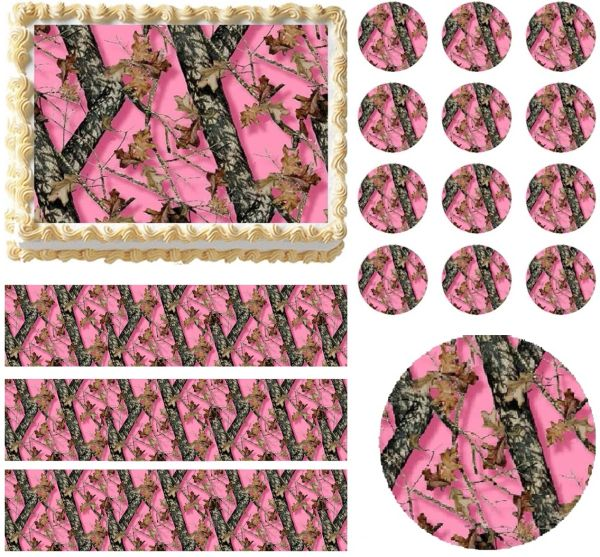 PINK MOSSY OAK Tree Print Edible Cake Topper Image Frosting Sheet