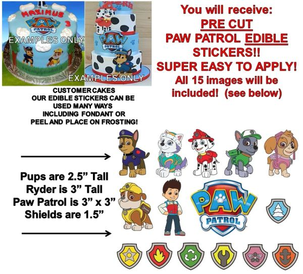 Paw Patrol Edible Cake Stickers Paw Patrol Cake Cut Outs Edible Decals for Cake