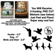 Duck Hunting Edible Cake Stickers Hunting Cake Cut Outs Edible Decals for Cake