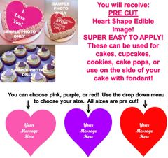 PRE CUT Heart Shape Edible Cake Topper Image Frosting Sheet Heart Cupcakes Love