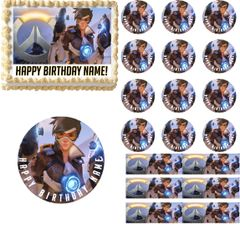 Overwatch TRACER Gaming Edible Cake Topper Image Frosting Sheet Cake Decoration