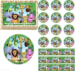 JUNGLE SAFARI ANIMALS Edible Cake Topper Image Frosting Sheet Edible Cupcakes Cookies