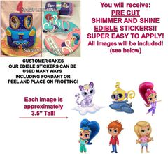 Shimmer and Shine Edible Cake Stickers Edible Decal Cut Outs Shimmer Shine Cake