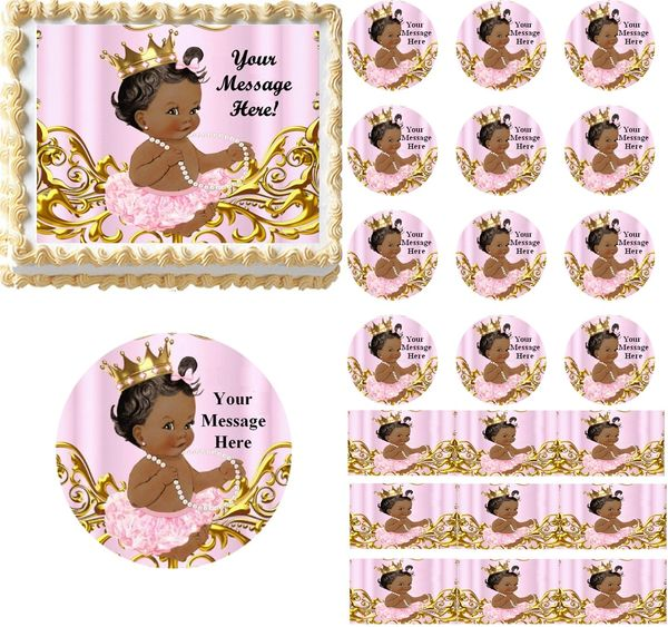 Vintage Dark Skin Princess Baby Edible Cake Topper Image Frosting Sheet Cupcakes Decoration