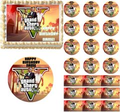 GRAND THEFT AUTO V GTA 5 Edible Cake Topper Image Frosting Sheet Cupcakes Gaming Cake