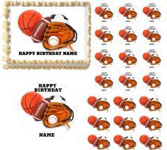 All Star Sports Edible Cake Topper Image Frosting Sheet Football Soccer Baseball