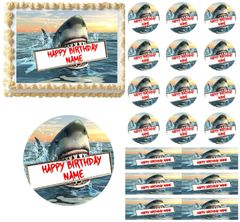 Great White Shark Edible Cake Topper Image Frosting Sheet Cake Decoration Cupcakes