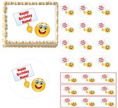 Emoji Holding Sign Emoticon Edible Cake Topper Image, Emoji Cupcakes, Emoji Party Supplies, Emoticons Cake, Emoticons Cupcakes, Edible Cake
