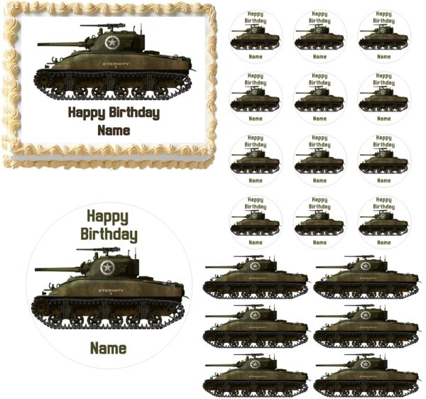 Military Sherman Tank Edible Cake Topper Image Sherman Tank Cake Tank Cupcakes
