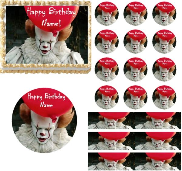 Creepy Scary Clown Edible Cake Topper Image Cupcakes Clown