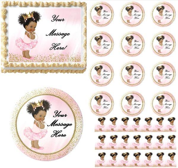 Pink Gold Dark Skin Ballerina Princess EDIBLE Cake Topper Image Baby Shower Afro